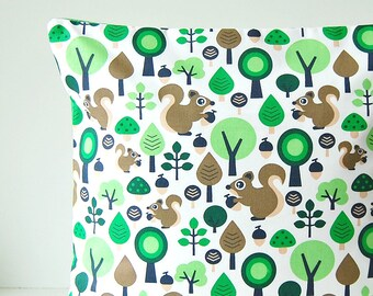 16 inch Squirrel green brown white cushion cover, trees leaves decorative pillow cover 40 cm