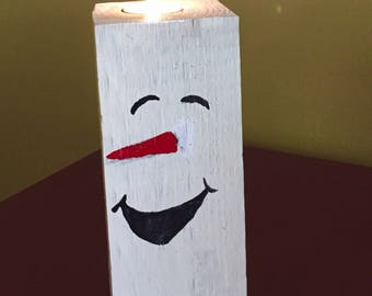Wooden Snowman Candle Holder