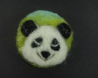 needle felted brooch handmade panda pin wool brooch fiber art textile miniature original artwork panda bear felt brooch round gift for her