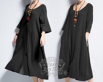 Anysize front slit soft linen&cotton plus size dress plus size tops plus size clothing Spring Summer dress Y142