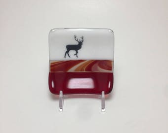 Fused glass, plate, wildlife, handmade glass dish, dish, elk plate, decor, jewelry dish, candy dish, spoonrest, dish, fused glass plate