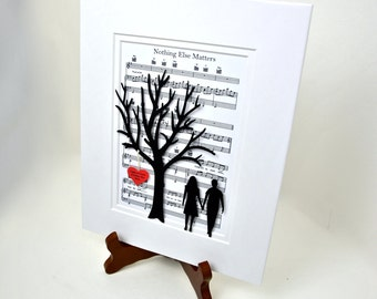 Personalized Paper Anniversary Gift, 3D Paper Tree & Hearts on Sheet Music, 1st Anniversary Gift, Wedding First Dance Song Music