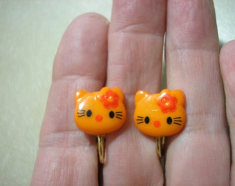 Play Earring - Clip -  Kitty - Orange - 5/8""