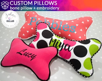 Personalized Custom Bone Pillow | Choose Your Size & Fabrics | Dog Bone, Designer Pillow, Custom Pillow, Accent Pillow