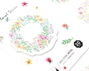 Beautiful floral wreath design sticky / post it note pads in 2 designs