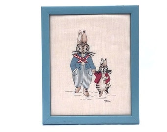 Vintage FATHER & SON Bunny Rabbit Embroidered Nursery Decor Wall Hanging