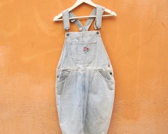 salopette anni 90 jeans denim pinafore dungaree festival grunge sporty vintage