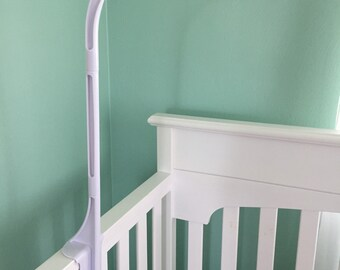 Crib arm for mobile, Crib arm attachment, baby crib mobile arm attachment, white crib attachment for cribs with thicker top railing