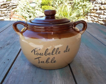Vintage French Salt Glazed Stoneware Table bin