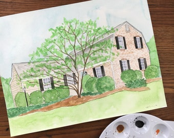 House Portrait. Custom Home Watercolor. New Home Illustration. House Warming Present. Gift for New Home Owner. Personalized Painting