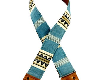 Blue and Tan Saddle Blanket Fabric Guitar Strap