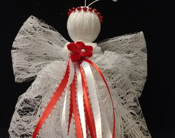 "Red and white 6"" String Angel Ornament"
