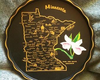 Vintage Souvenir Minnesota Souvenir Minnesota State Souvenir Tray Round Tin Tray 1960s 1970s New  H13