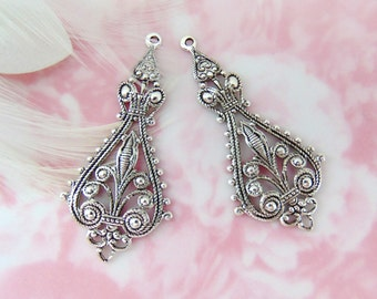 ANTIQUE SILVER * Large (1 Pair) Filigree Tea Earring Drop Connector Stamping ~ Finding (E-783)