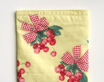 Reusable snack bag Sandwich bag in fresh Cherries, Waste free Sustainable lunch bag Spring Summer Earth day Mother's day gift for her