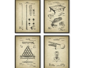 Billiards Patent Prints Set Of 4 - Billiard Inventions - Snooker Wall Art Poster - Billiards Room Patent - Pool Room Patent Poster Set of 4
