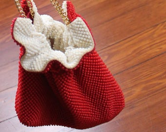 Red and White Reversible Beaded Purse
