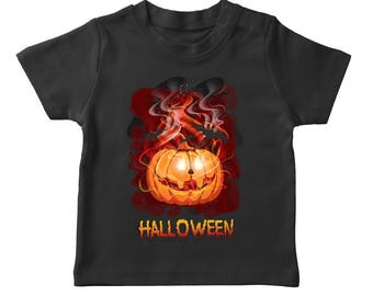 Halloween  Possessed Pumpkin Boy's Black T-shirt