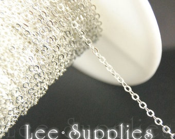 2mm Silver Plated Chain Flat Cable Bulk Jewelry Necklace Chain - Soldered C02