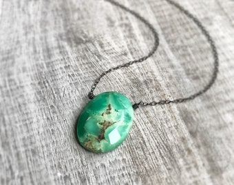 Chrysoprase Necklace, Sterling Silver Necklace, Woodland Necklace, Green Stone Pendant, Gift for Women Necklace, Oxidized Silver Necklace,