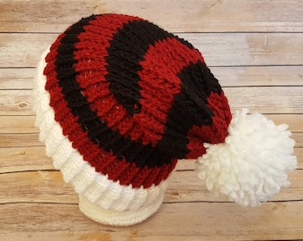 Red Black Slouchy Hat, Red Black Sports Team Hat, University of Georgia Hat, College Football Hat, Knit Red Black Hat, UGA Beanie Hat