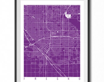 FRESNO Map Art Print / California Poster / Fresno Wall Art Decor / Choose Size and Color