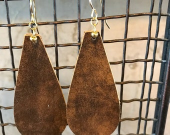 Rustic Brown Leather Teardrops Earrings