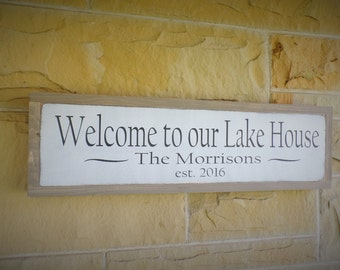 Welcome to Our Lake House Wood Sign Personalized Wooden Sign Established Sign Welcome Sign 25x7