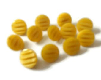 """Set of 12 Vintage Carved Lemon Yellow Round Shank Buttons, 1/2"""" 1950s Dressmaking Buttons"""