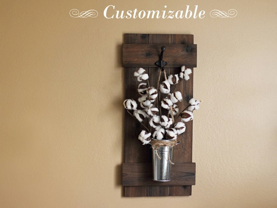 Cotton Stem Decor Rustic Wall Decor Wall Hanging Wooden