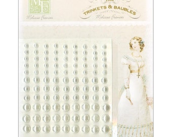 "Self-Adhesive Pearl Embellishments 3.75""X3.5"" Sheet - Cream"