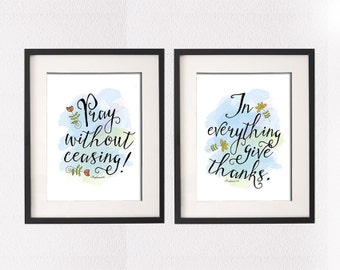 "Inspirational Poster Art Set of 2, ""In everything give thanks."" and ""Pray without ceasing."" from 1 Thessalonians 5  • Vector Artwork"