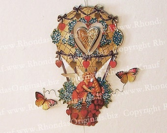Digital Hanging Valentine Decoration INSTANT Download 3D Printable Cherub Angel In Hot Air Balloon Ornament With Spinning Heart Insert CS30V