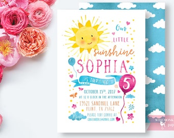 Little Sunshine Birthday Invitation Watercolor Girl Pink Yellow First Birthday Invitation Girl  Invite Card - Printable Digital File