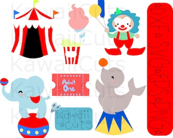Cute Circus and Carnival cutting file, svg, png, dxf, Cricut, silhouette, popcorn, ticket, cotton candy, elephant, seal, birthday, party