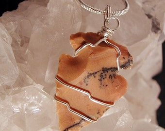 Jasper & Sterling Silver Wire Wrapped Arrowhead Necklace #E ~ Belfry Studios ~ FREE SHIPPING