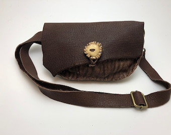 Leather Fanny Pack with Brown Elk Hide and Antler Button