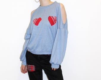 Pretty Disturbia Customised Jumper with Cut Out Shoulders and Heart Chest Patches