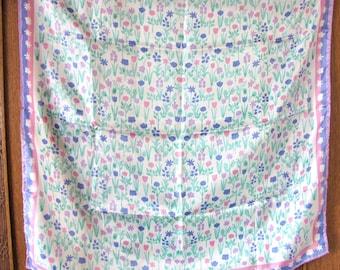 Vintage Vera Scarf, Vera Neumann Scarf, Silk Scarf, Pastel, Flowers, Vintage Fashion, Vintage Accessories, Ladybug, Japan, Handrolled hem,
