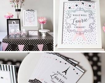 DIGITAL FILES Paris Birthday, Paris Doljabi Party Kit, Paris, Pink and Black Paris Theme, Poodle, Eiffel Tower Theme, Korean 1st Birthday