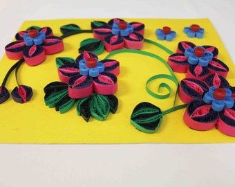 Floral 3D art wall decor, Unique home decor, Paper Quilling art, Quilled wall art, Paper wall art, floral wall hanging, unique gift for home