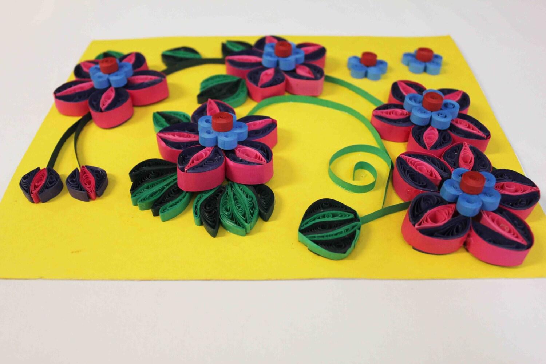 Floral 3D art wall decor Unique home decor Paper Quilling