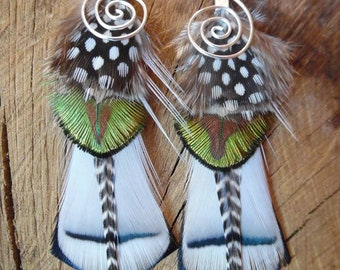 Earrings with natural peacock feathers, tribal-ethnic style