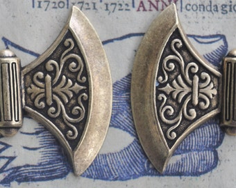 Medieval brass axes left and right stampings, Brass Ox, Brass Stampings Made in the USA