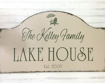 Custom personalized lake house sign, beach house, Mother's Day gift, vacation house getaway, lake cottage decor,  custom cabin, river house