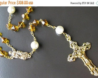 MOTHERS DAY SALE Gold Rosary Necklace. Catholic Rosary in Yellow Amber and Pearl. Handmade Rosaries by Gilliauna