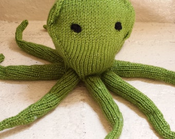 Green Octopus Stuffed Animal /Shimmery Hand Knitted Doll / Amigurumi Toy/ Handmade Toys/ Plush Toy/ Gift For Kids/ Knit Octopus