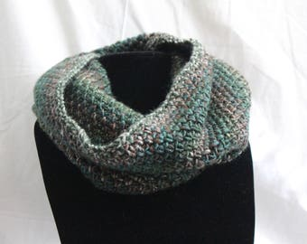 Moss Stitch Green and Brown Cowl