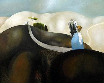 Oil on Canvas Painting Signed by Naftali Bezem Jewish Pregnancy Unique Art