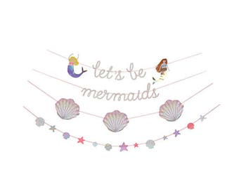 Mermaid Garland   -glitter letters, 2 mermaids 3 shells 13 pennants